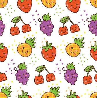 Kawaii fruit seamless pattern