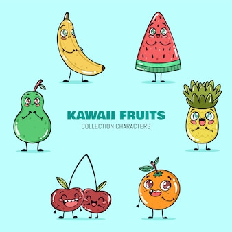 Kawaii fruits collection vector