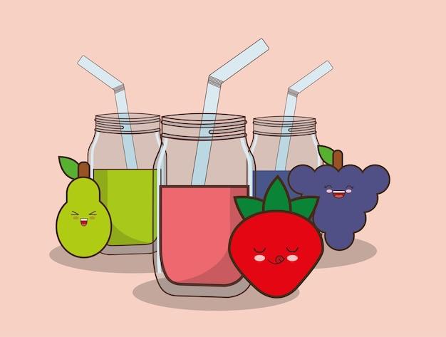 Kawaii fruits and smoothies jars