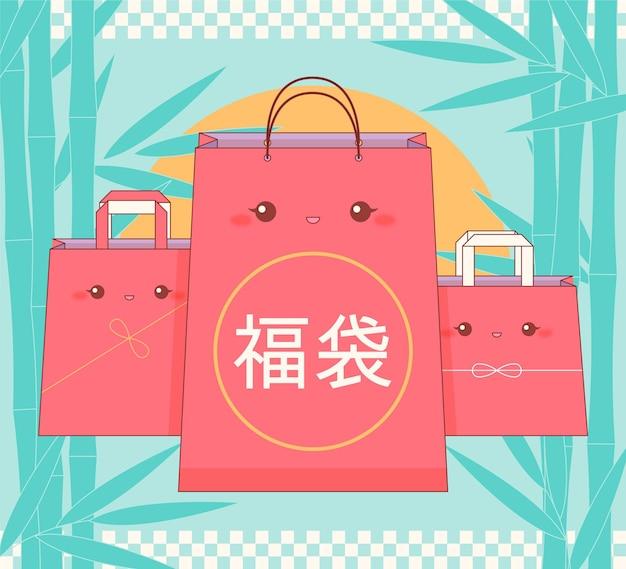 새해를위한 kawaii 후쿠 부쿠로 미스터리 가방