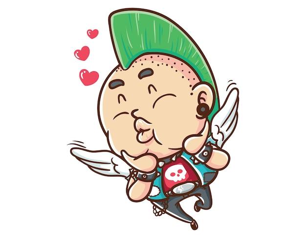 Kawaii and funny punk man lovely angel mascot character illustration hand drawn cartoon coloring style