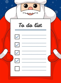 Kawaii funny santa claus holding letter to do list paper christmas and happy new year holiday task
