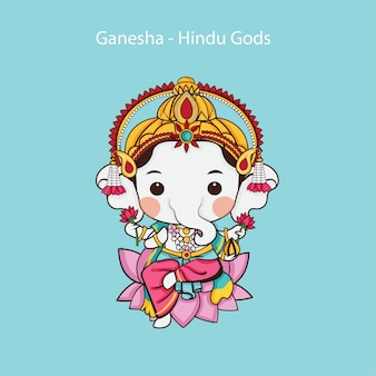 Kawaii ganesha, one of the best-known and most worshipped deities in the hindu god