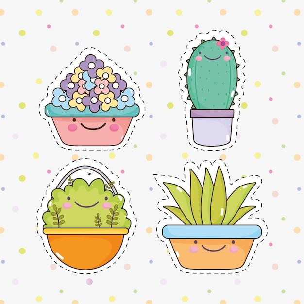 Kawaii garden plants sticker