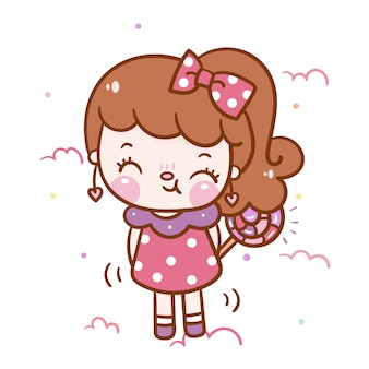 Kawaii girl cartoon with candy