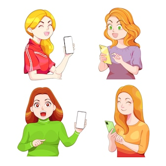 Kawaii girl holding cellphone, using mobile for showing screen. cute woman smiling, posing,looking at smartphone. cartoon set