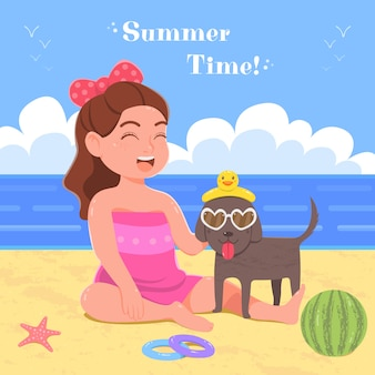 Kawaii girl play with dog, summer vacation on sea beach, holiday vector illustration