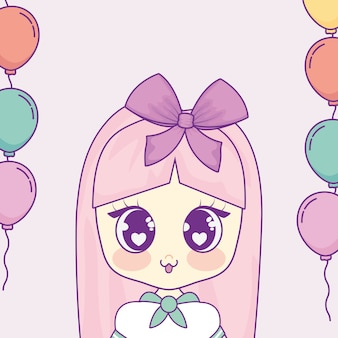 Kawaii girl with balloons helium frame