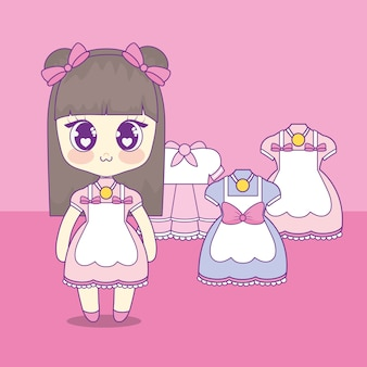 Kawaii girl with set clothes