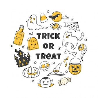Kawaii halloween object in doodle style