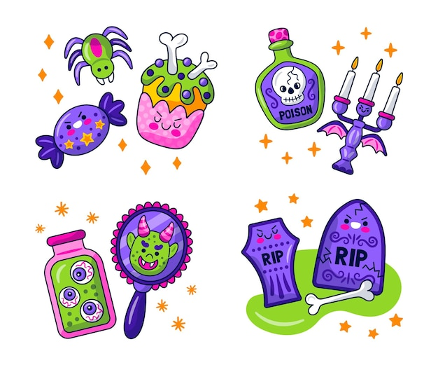 Kawaii halloween stickers collection