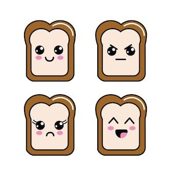 Kawaii halved bread faces icon