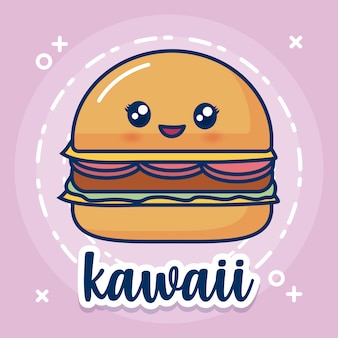 Kawaii hamburger icon