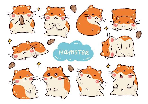 귀여운 햄스터 만화 낙서 세트