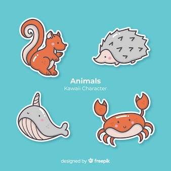 Kawaii hand drawn animals collection