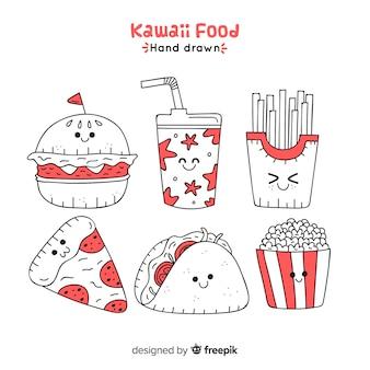 Kawaii hand drawn fast food collection