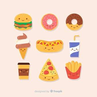 Kawaii hand drawn junk food collection