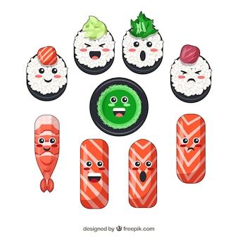 Kawaii коллекция рисованной суши