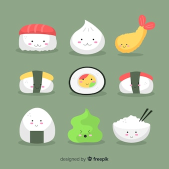 Kawaii hand drawn sushi collection