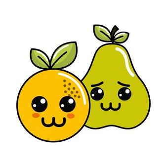 Kawaii happy and sad orange and pear icon