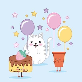 Kawaii happy birthday cat cake and soda cartoon