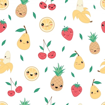 Kawaii happy fruit seamless pattern
