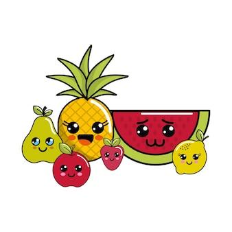 Kawaii happy fruits icon