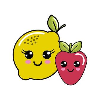 Kawaii happy lemon and strawberry icon