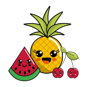 Kawaii happy pineaplle, watermelon and cherry icon