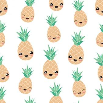 Kawaii happy pineapple fruit seamless pattern