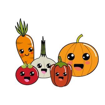 Kawaii happys vegetables icon