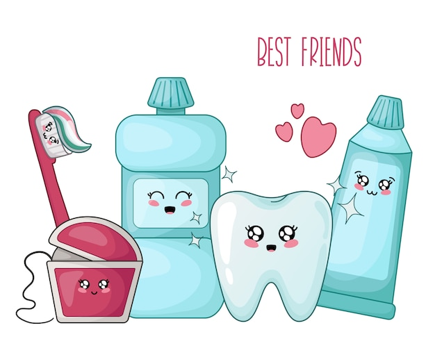 Kawaii healthy tooth and dental floss toothpaste brush