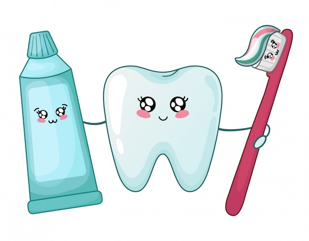 Kawaii healthy tooth and toothpaste and brush