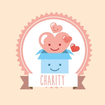 Kawaii 마음과 판지 상자 기부 자선 단체 라벨