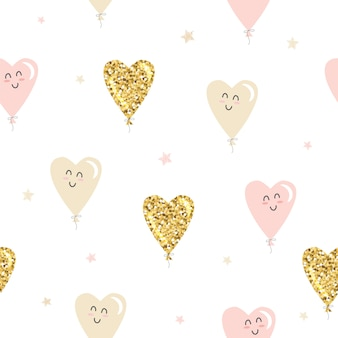 Kawaii heart balloons seamless pattern. gold glitter, pastel pink and beige.