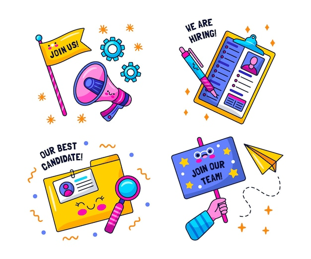 Kawaii hiring and join us stickers set