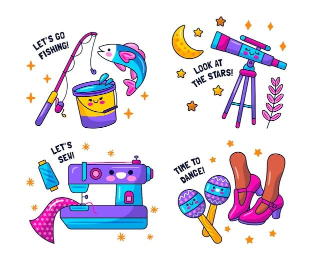 귀여운 취미 스티커 컬렉션