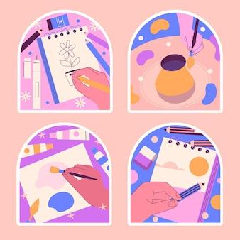 Kawaii hobbies stickers collection