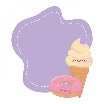 Kawaii of ice cream cartoon