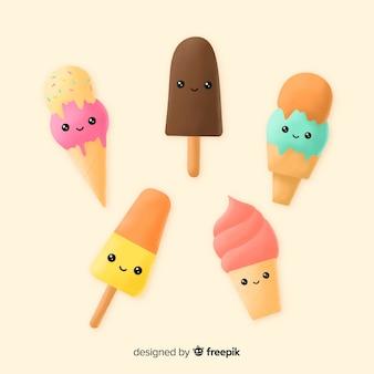Kawaii ice cream character collection