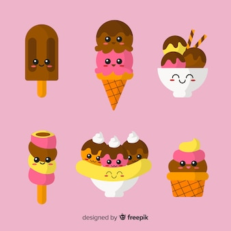 Kawaii ice cream character collection