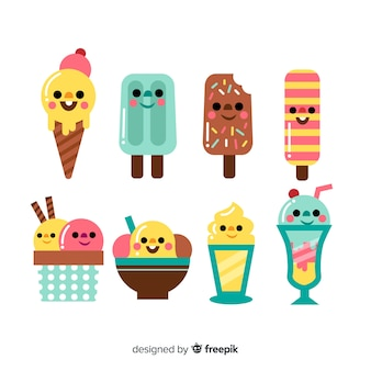 Kawaii ice cream characters collection
