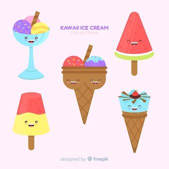 Kawaii ice cream characters collection