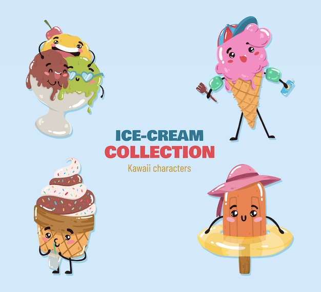 Kawaii ice cream characters vector