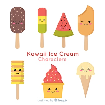 Kawaii ice cream characters