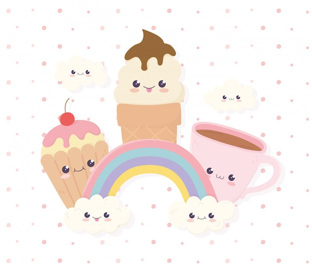 Kawaii ice cream cupcake and coffee cup rainbow clouds fast food cartoon