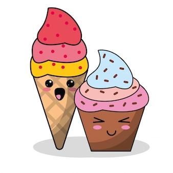 かわいいアイスクリームカップケーキイメージ