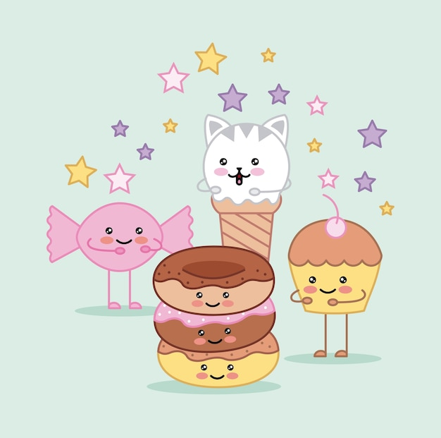 Kawaii ice cream donut candy and cupcake cartoon