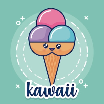 Kawaii ice cream icon