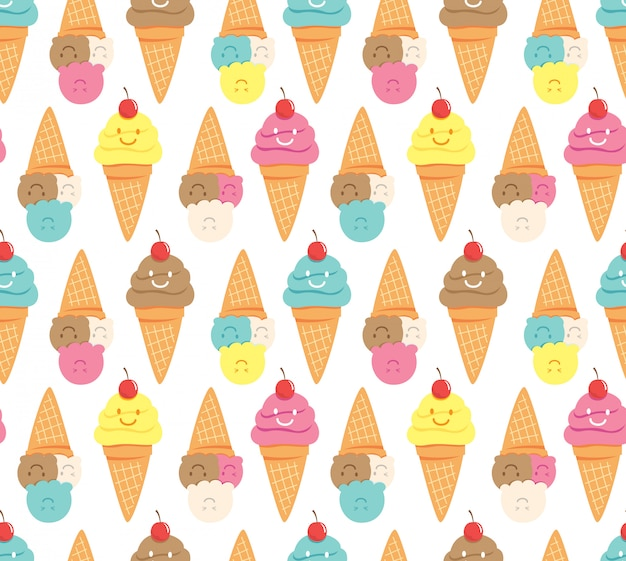 Kawaii ice cream seamless background